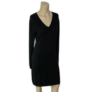 J.CREW Black Sweater Dress S V-Neck Long Sleeve